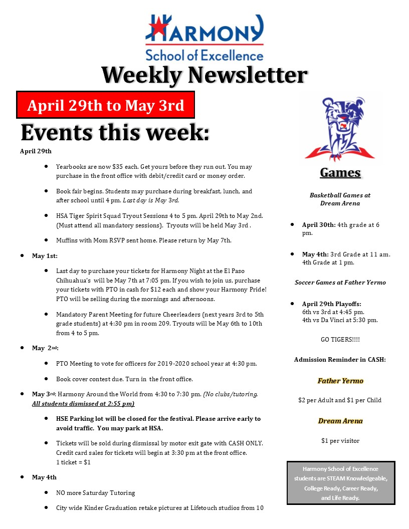 Weekly Newsletter April th – Harmony School of Excellence